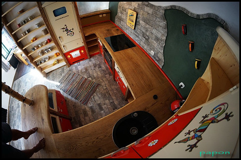 papon bulli vw bus hippie design steampunk art design kitchen originální kuchyněn