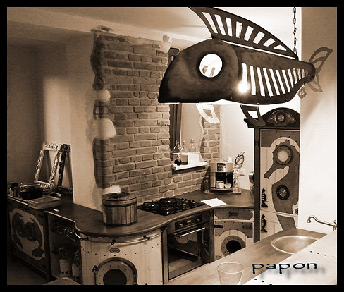 papon design steampunk design steampunk styl creative deasign kuchyně kuchyňská linka kitchen design kitchen design furniture steampunk furniture hippie furniture hippie styl